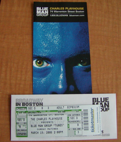 The Blue Man Group, today at 2:00.  w00t!!