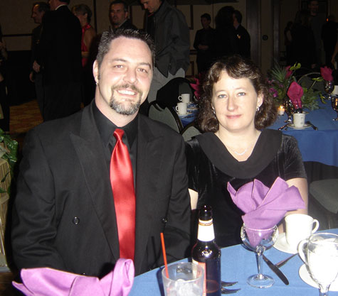 My wife and I at the holiday Party