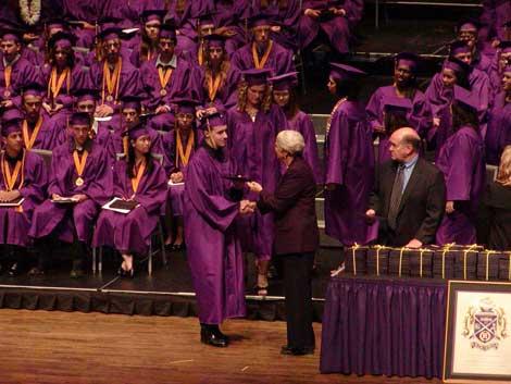 Michael recieving his diploma