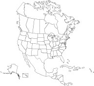 A map of Canada, USA, Mexico, and Cuba in EPS