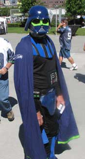 Darth Seahawk, one of the colorful characters at the game